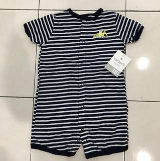 #Huat50Sale Carter's Playwear Baby Boy Navy Blue/White Stripes With Bulldozer Appliqué Romper 18months