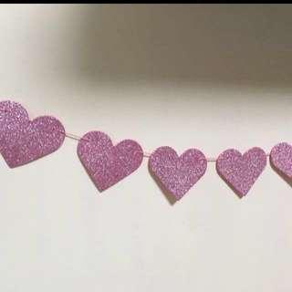 3m Glitter pink heart garland