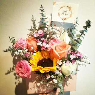 Mixed Flowers In The Box