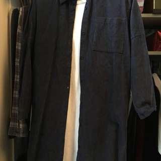 深藍色長開胸連白色長袖T恤(9成新)