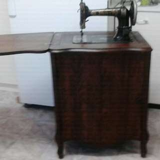 White sewing machine and cabinet