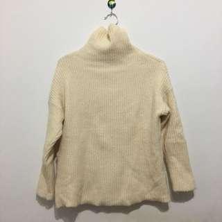 韓版 全新 高領 厚 米白 毛衣