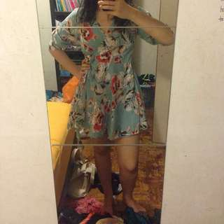 Blue floral Japanese style inspired dress