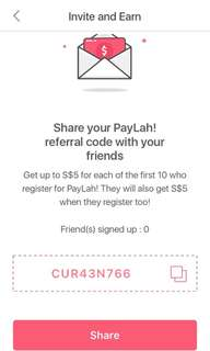 PayLah sign up free money