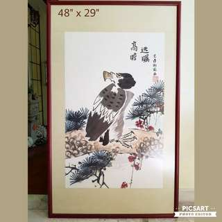 Beautiful Chinese Hand-Painting of an Eagle Looking Afar symbolizing a Wise Person with Far Eyesight. Wooden frame still in very good condition. $128 offer, sms 96337309.