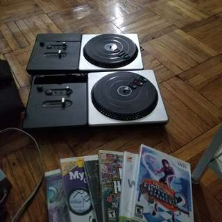 Wii, DDR matt, DJ hero turntables and 6 games