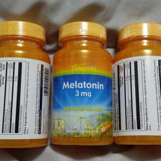 MELATONIN 3MG X 30S SLEEP FASTER AND LONGER (3 BOTTLES @ $25.90 WITH MAILING)