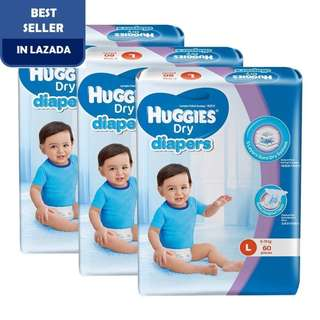 Huggies Dry Diapers L60 Super Jumbo (3 pack)