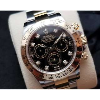 二手 Rolex Two Tone Daytona BLACK WITH DIAMONDS