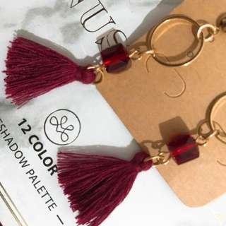 Tassel Red earring