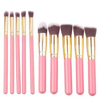 10 PCS MAKEUP BRUSHES in Pink & Gold (LARGE SIZE)