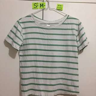 🌸Green and White Striped Top - (w/ discolouration) fits S-M