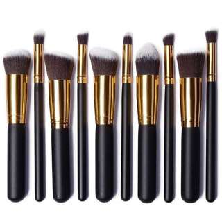 10 PCS BRUSH SET in Black & Gold (LARGE size) 🌸✨