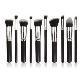 10 PCS BRUSH SET in Black & Silver (LARGE SIZE)