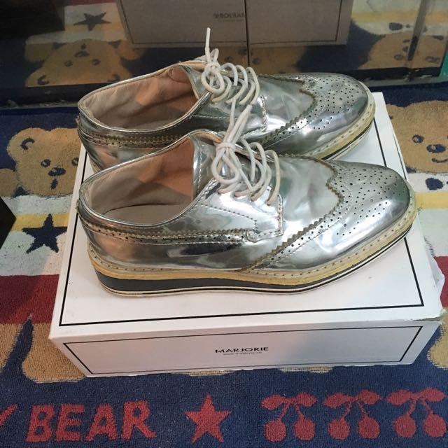銀色厚底牛津鞋