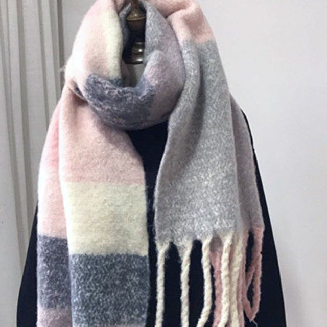 全新!韓粉色/黑灰軟綿綿毛料圍巾/披巾