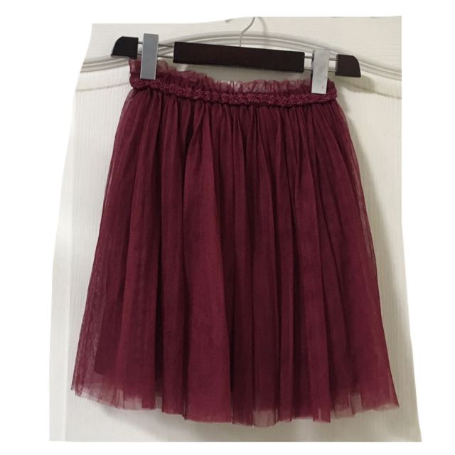 日本品牌 酒紅蕾絲紗裙