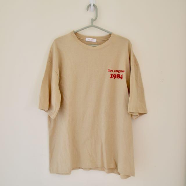 英文字母寬鬆短袖上衣 韓國製