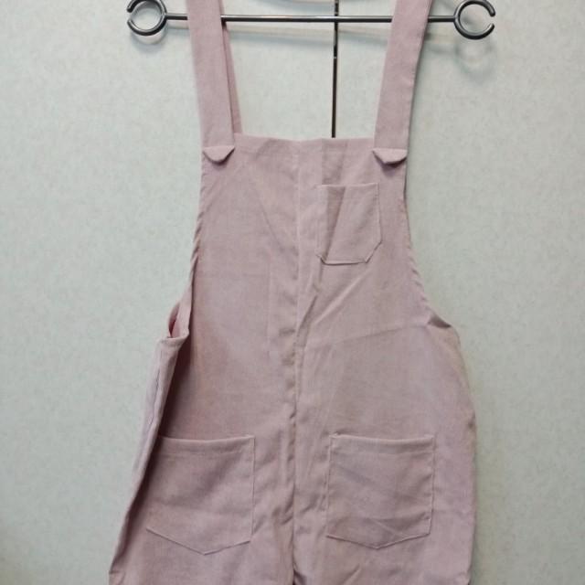 🎆皮粉色 燈芯絨吊帶褲