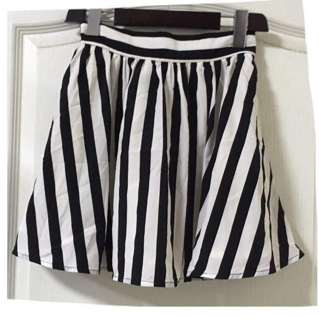 日本品牌 古著 黑白條紋雪紡裙