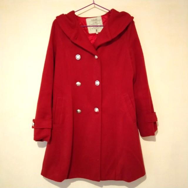 酒紅色 貴氣時尚 大衣外套(附綁帶 連帽)