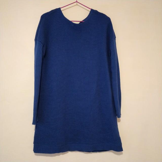 藍色 庸懶風 長版 針織毛衣