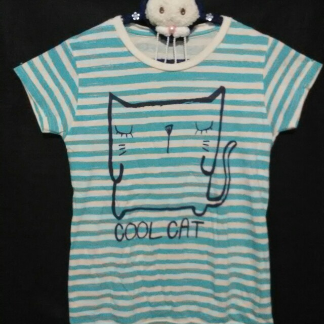 ❤ Kaos Cool Cat Stripes
