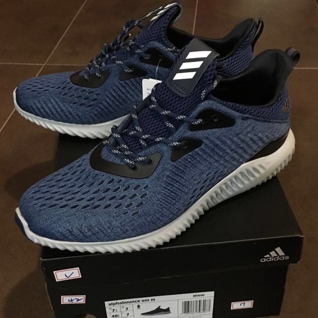 713b39928 Adidas Alphabounce Alpha BOUNCE EM Blue   Grey