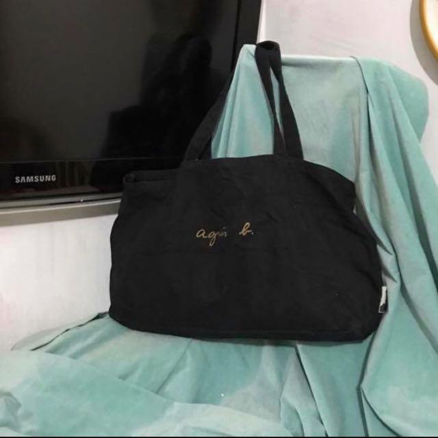 Agnes b 黑色布袋環保袋手挽大袋側咩袋返工返學首選袋容量大T 07f50a906c15a