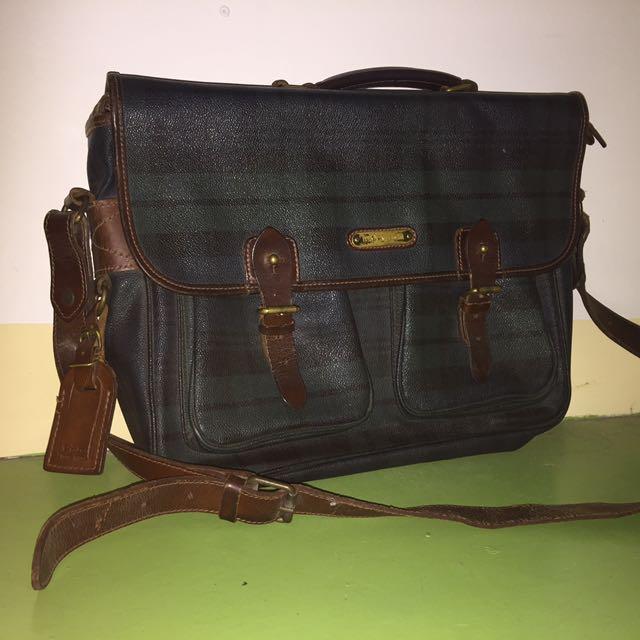 authentic Polo Ralph Lauren vintage tartan print plaid laptop/messenger bag