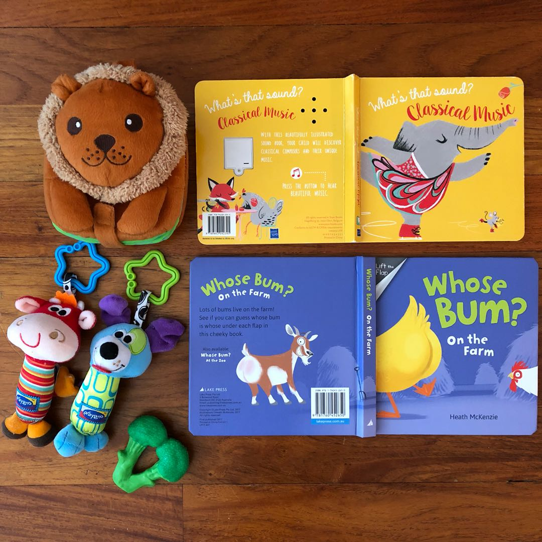 Baby sound book, touch book, soft book, stroller toys, appe teethers broccoli teething toy