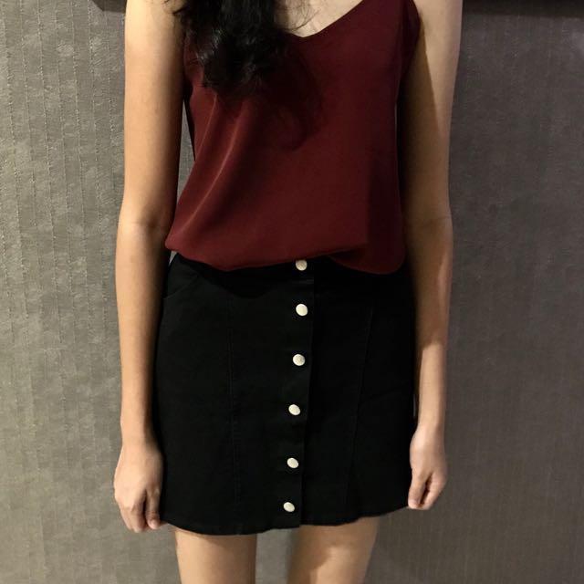 Black Button Down Skirt A Line