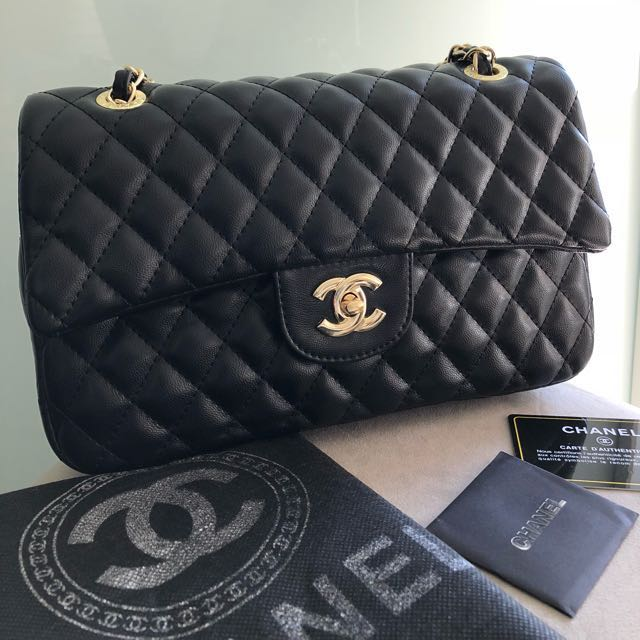 Black Quilted Classic Medium Double Flap Bag