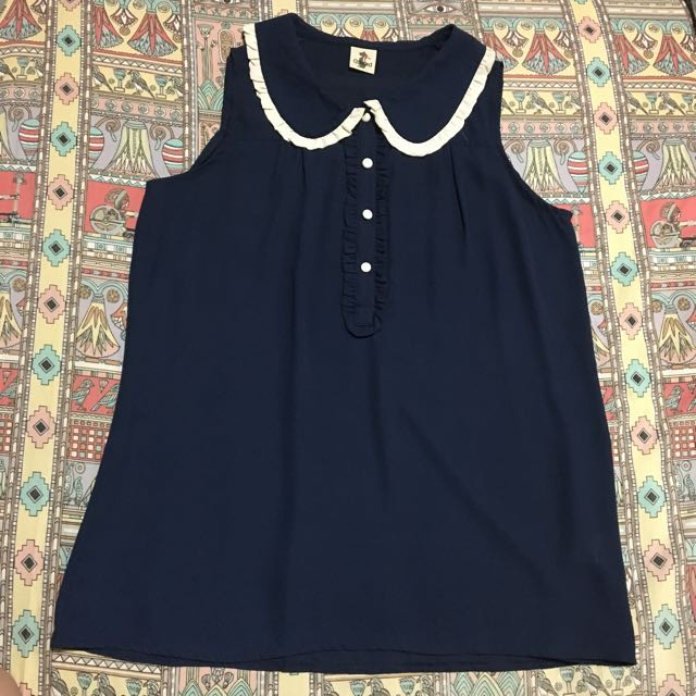 c950f1a708b BN sleeveless peter pan collar blouse (navy)