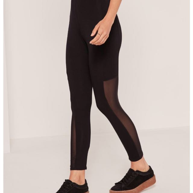 f0f8850a5b8583 Brand New Missguided Mesh Insert Leggings, Women's Fashion, Clothes ...
