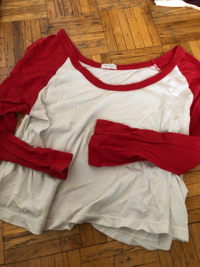 Brandy Melville red baseball tee crop