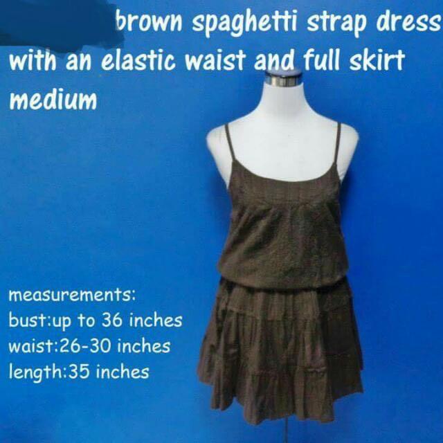 Brown Spaghetti Dress