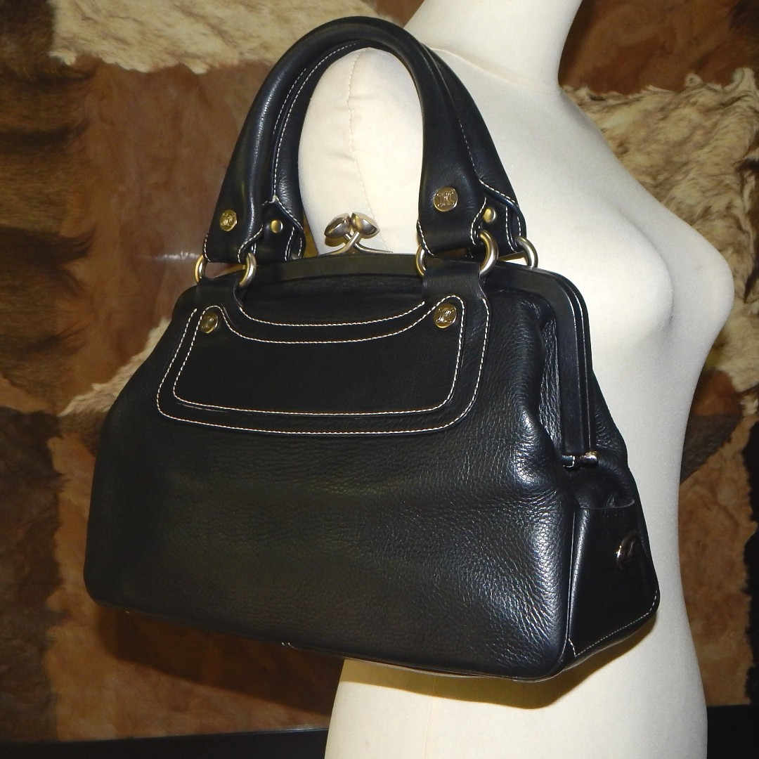 CELINE topstitched leather kisslock framed satchel bag