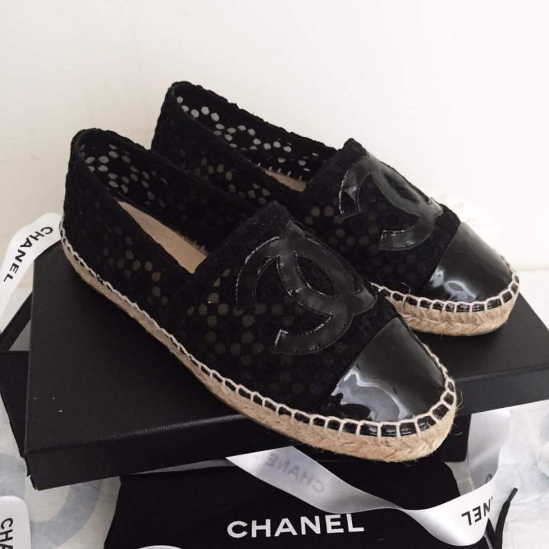 Chanel 香奈兒 黑色蕾絲鉛筆鞋 草鞋