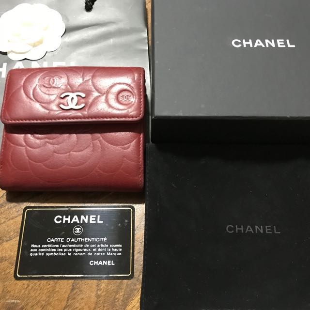 Chanel lamb skin Camellia red wallet