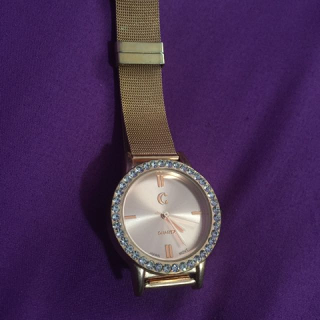Charming Charlie rose gold mesh watch