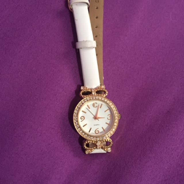 Charming Charlie white leather watch