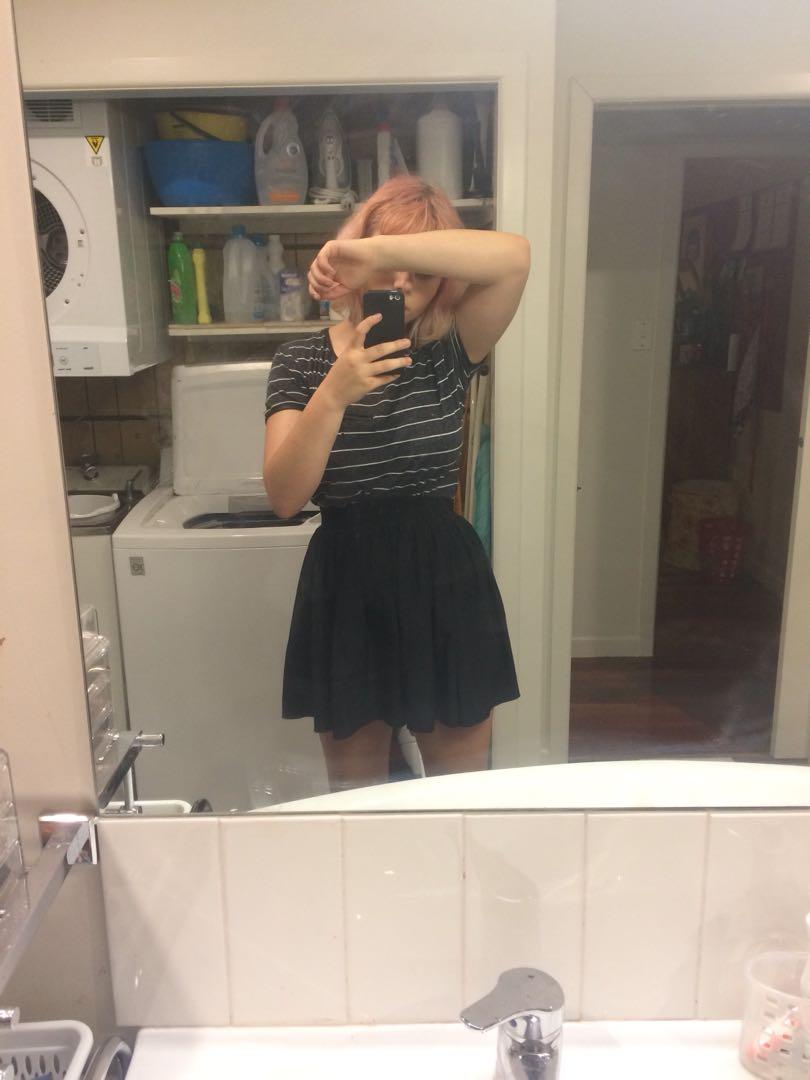 cute simple black mini skirt