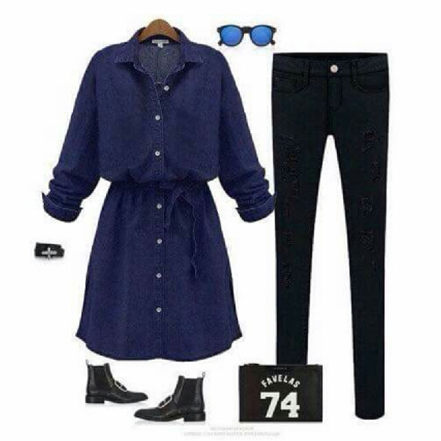 denim long blouse /dress