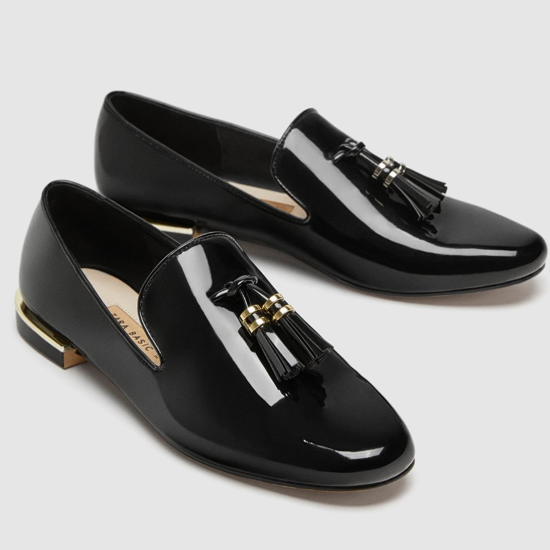 FAUX PATENT LEATHER TASSEL LOAFERS ZARA