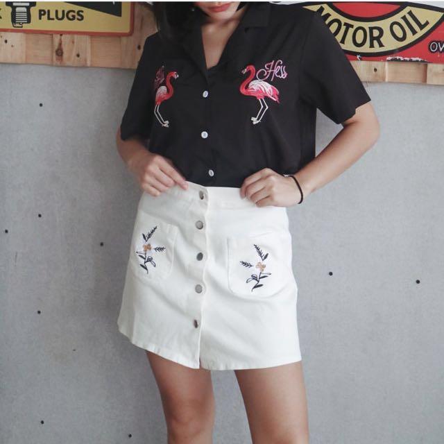 Flamingo gals & denim skirt