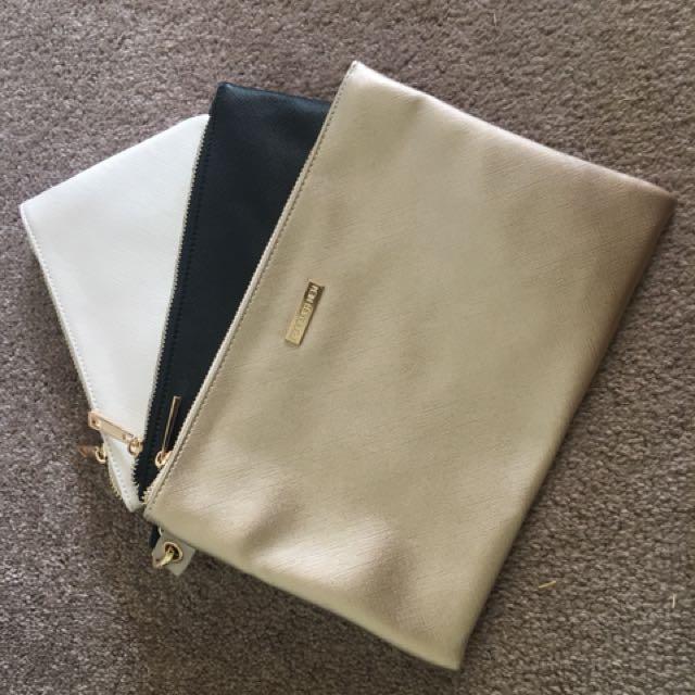 FOREVER NEW metallic pouches x 3