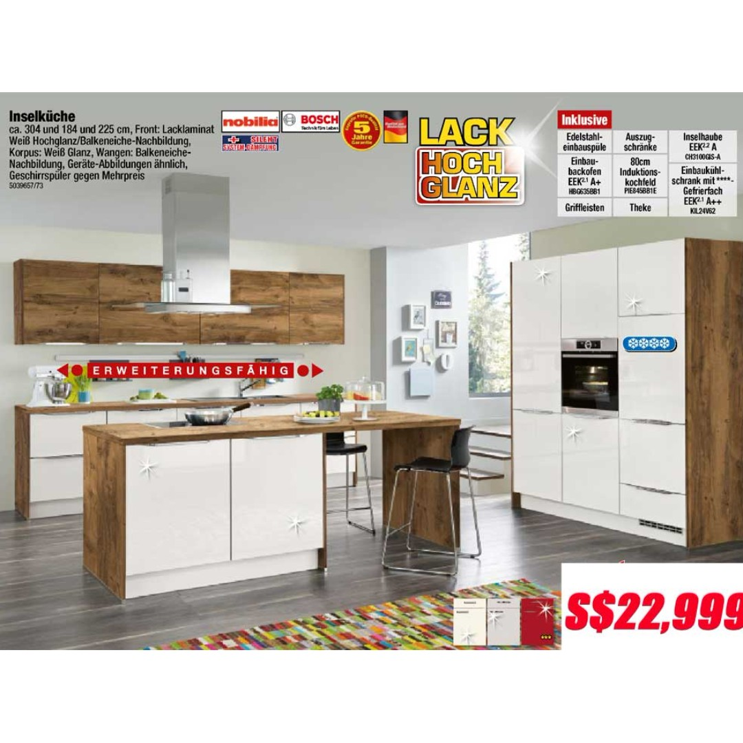 German kitchen cabinet with Island by Nobilia, Home Appliances on ...