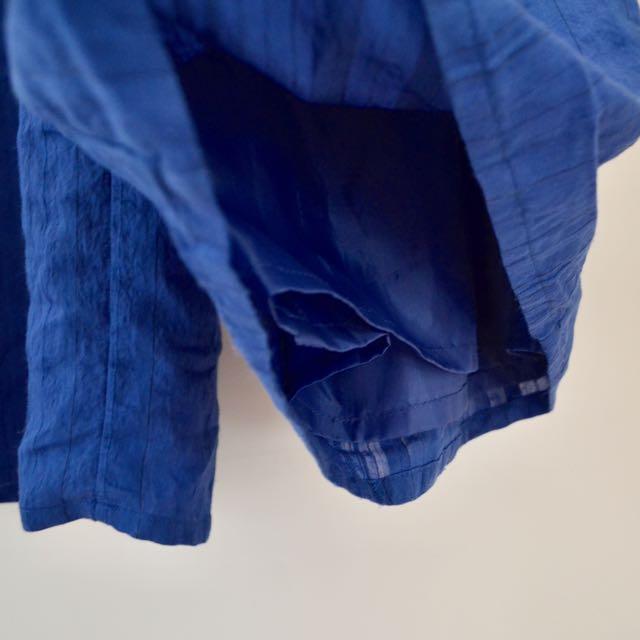 GU購入 夏季亮藍顯瘦雙層薄寬褲