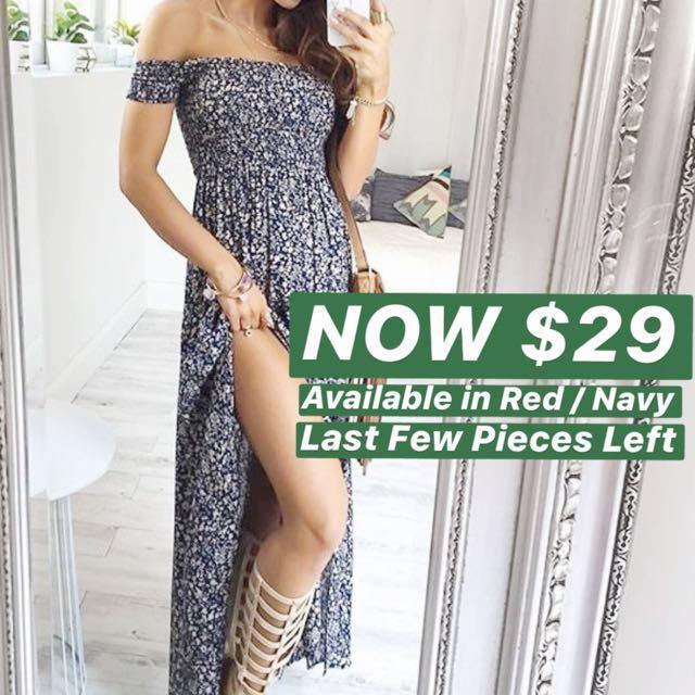 INSTOCKS Bohemian Off Shoulder Maxi Dress